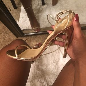 Shoe Dazzle Shoes - Super Cute Metallic Gold Lace Up Heels